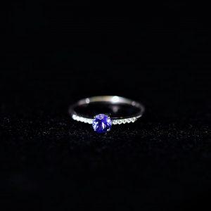 Tansanit Weißgold Ring und Brillanten