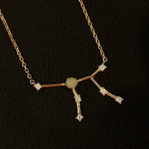 Sternbild Jungfrau Amazonit Silber Anhänger vergoldet