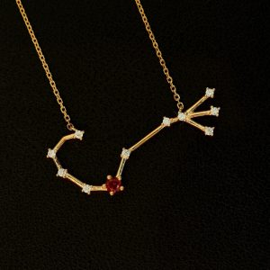 Sternbild Skorpion Granat Silber Anhänger vergoldet