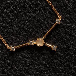 Sternbild Krebs Mondstein Silber Anhänger vergoldet