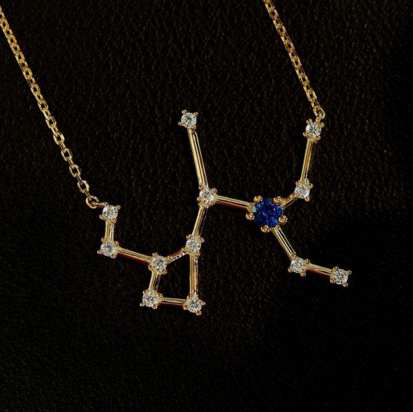 Sternbild Schütze Saphir Silberanhänger vergoldet