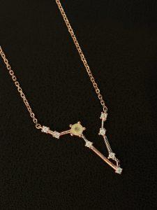 Aquamarin Sternbild Silber Anhänger Fisch rose platiniert
