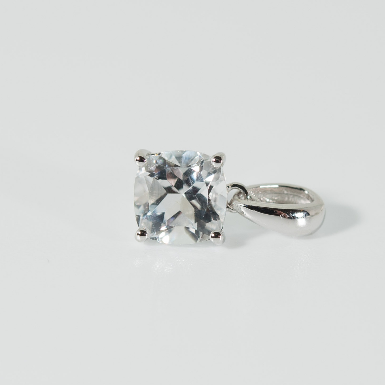 925 Silberanhänger weisser Topas Cushion