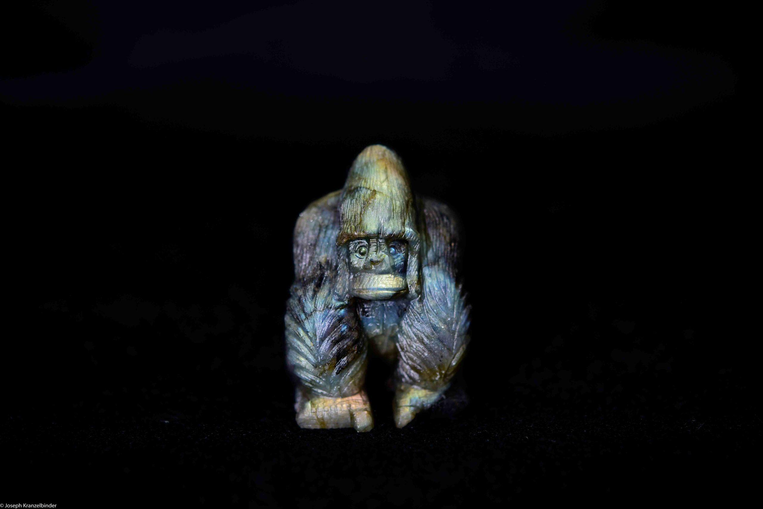Gravur Labradorit Gorilla Handarbeit