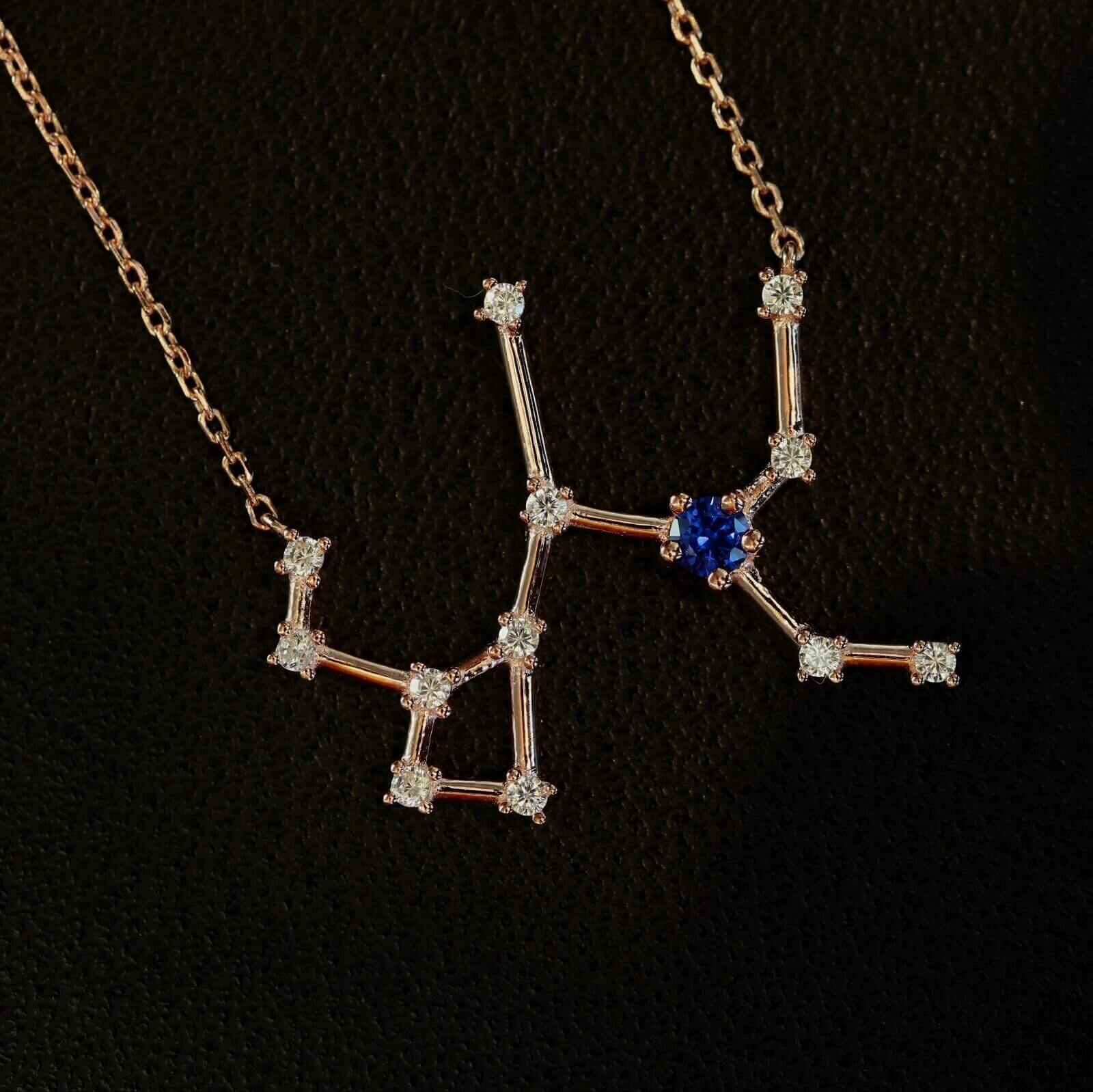 Sternbild Schütze Silber mit Saphir