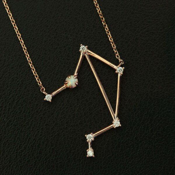 Opal Silberanhänger Waage rose
